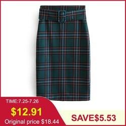 Tangada юбка-карандаш зеленая юбка юбка в клетку клетчатый принт юбка с завышенной талией юбка с высокой талией юбка с поясом юбка с ремнем офис...