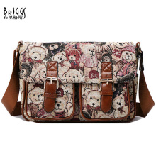 Preppy Style Cute Bear Women Handbag Designer Handbags High Quality Knitted Jacquard + Brocade Women Messenger Bag Satchels