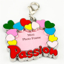 Passion design pet cat dog hanging ID identity tags Alloy mini photo frame puppy kitten necklace collor pendants ketchain supply