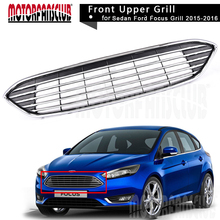 Car Racing Grills Chrome Upper Centre Grille Front Bumper Black Grill For Ford Focus 2015 2016 Car Styling Parts