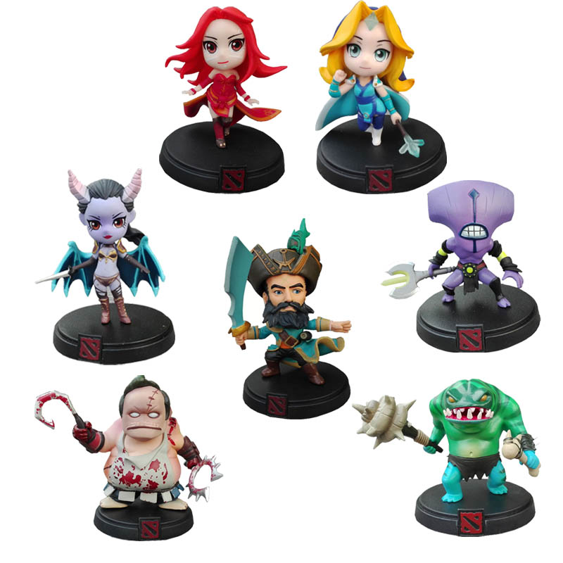 7pcs/set DOTA 2 Game Figure Crystal Maiden Kunkka Lina Pudge QueenTidehunter Model DOTA2 Collection PVC Action Figure toys<br>