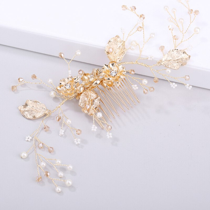 Crystal Hairband Pearl Gold Flower Hair Comb Clips For Women Wedding Bride Tiaras Crown Headband Hair Jewelry Hot