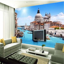 beibehang Personalized custom wallpaper European blue sky river canal water city TV background wall fluorescent wallpaper