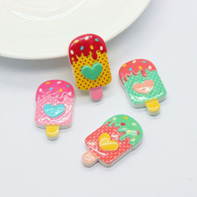 Resin Ice Cream 20PCS Dessert 3D Resin Flatback Cabochon Miniature Food Art Supply Decoration 19*32mm For Phone