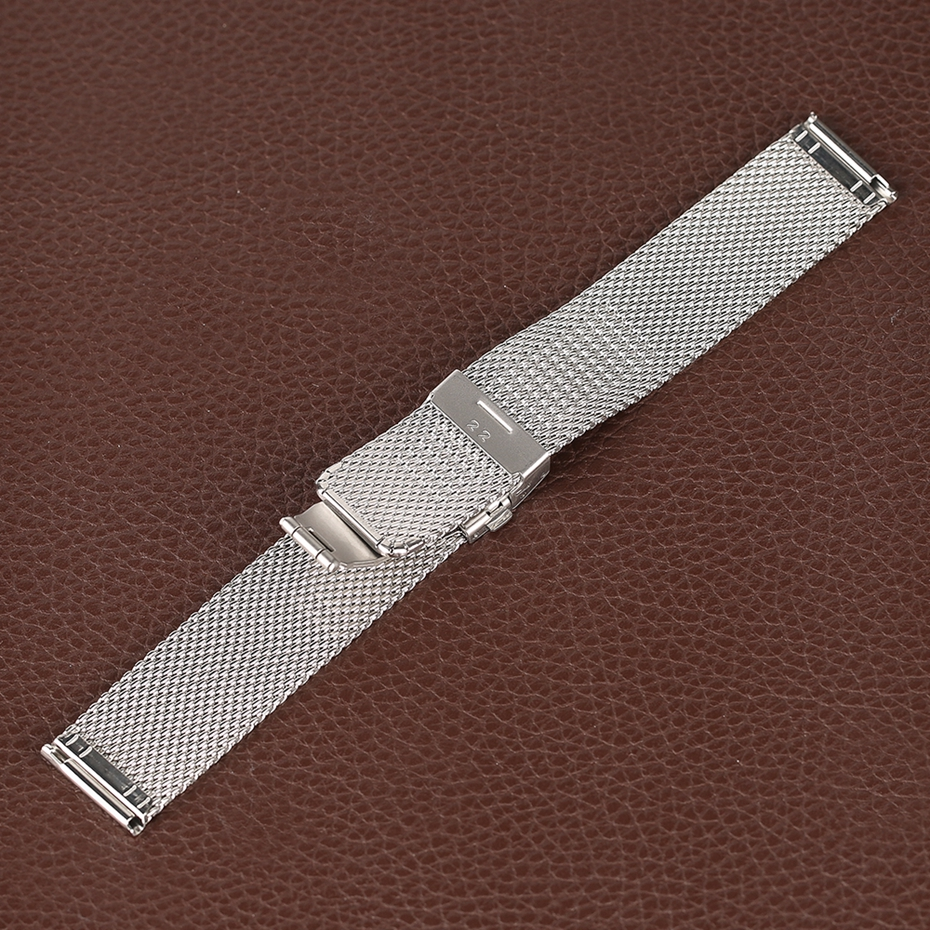 Mesh Milanese Bracelet Clasp Watchbands High Quality 18mm 20mm 22mm Silver Black Wrist Watch Band Strap for Clock Replacement 2018 (13)