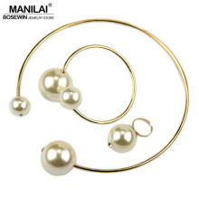 MANILAI Fashion Jewelry Sets T Show Torques Brand Rhinestone Imitation Pearl Necklace Bangle Ring Bridal Jewelry Set Women Gift