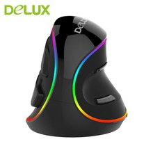 Delux M618 PLUS Optical Mouse Professional USB RGB Vertical Optical Mouse Mice Adjustable 1600 DPI Mouse For PC Computer Laptop(China)