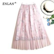 Fashion Women Tulle Skirt Wedding Bridesmaid Tutu Skirts Korean High Waist  Floral Embroidery Fairy Skirt Jupe 8f2d313d6f59