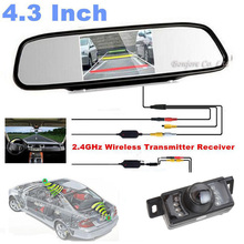 "Wireless Parking Car Camera Rear view Cam 7 Infrared + Mirror Display Monitor 4.3"" LCD TFT Screen System 12V For DVD"