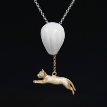 925 Sterling Silver Ceramic Necklaces For Women Hot Air Balloon Cat Pendant Necklace(China)