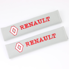 New car covers seat belt pad embroidery pattern cotton fit for Renault duster megane 2 logan renault clio 2pcs/set(China)