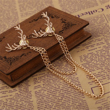 Men's antlers collar brooch tips chain brooch animal brooch for men jewelry cheap brooch hot Christmas ornaments