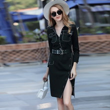 Elegant Dresses European 2017 Turn-down Collar Fashion 3/4 Sleeve Sexy Split Button Beautiful Belt Spring Summer Office Dress