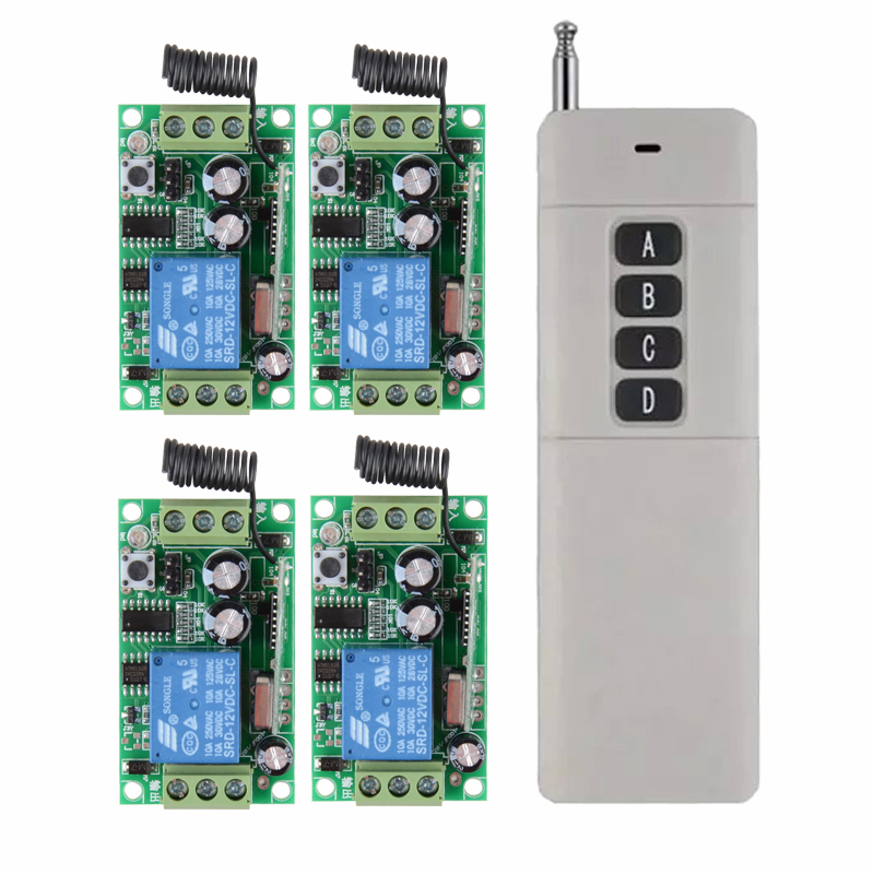 12V 10A 3000M RF Wireless remote control switch system 1 transmitter +4 receiver  each CH is independently<br>