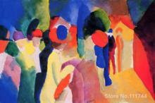 Oil painting from photo Woman with a Yellow Jacket by August Macke High Quality Handmade(China)