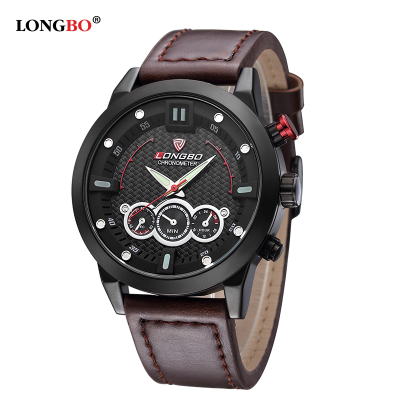 LONGBO Luxury Brand Men Leather Watch Sports Quartz Watches For Men Male Casual Clock Military Watch Relogio Masculino 80188<br><br>Aliexpress
