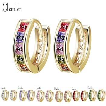 7 Color Silver Gold  CZ Crystal Earrings With 5 Square Rhinestone Filled Fashion Copper Jewelry For Women Boucle D