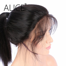 ALICE Brazilian Remy Hair 360 Lace Front Wig Silky Straight 130 Density Natural Color Pre Plucked 360 Lace Wigs For Mother's Day