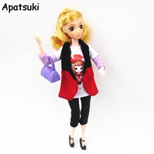1set 1/6 Doll Accessories For Barbie Dolls White Painted T-Shirt & Red Waistcoat & Shorts Clothes For Barbie Dollhouse Toys