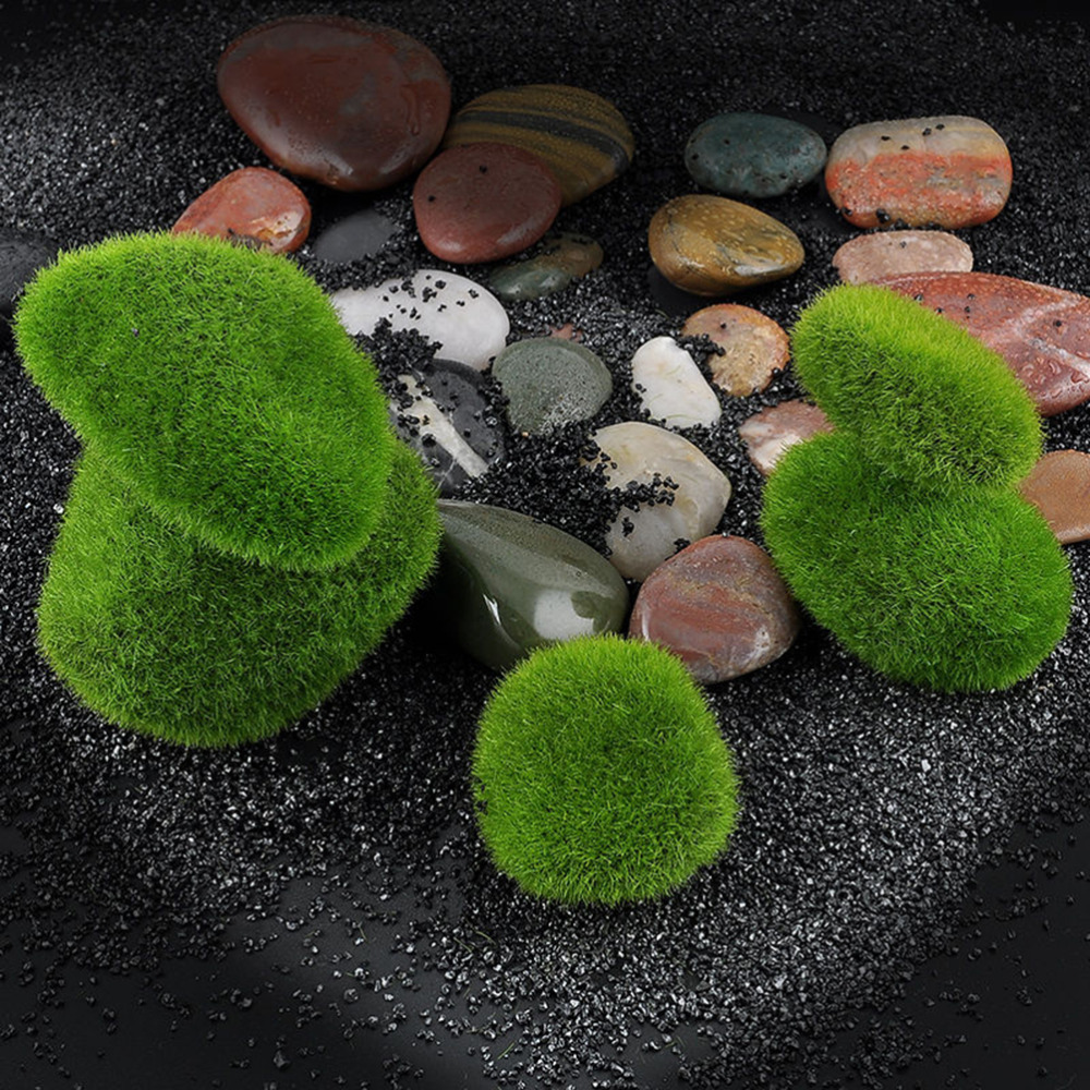 Micro Landscape Fairy Garden Miniature Ornament Artificial Fake Moss Lawn Mossy Stone Model Toy DIY Accessories Decoration
