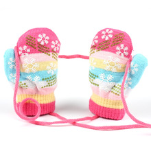 Winter Snowflake Children Gloves Warm Cotton Baby Boy Mittens Kids Print Full Finger Handschoenen Knitted Thicken Girl Gloves(China)