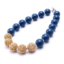 MHS.SUN 2PCS/Lot Royal Blue+Gold Toddler Chunky Bead Necklace Baby Kid Girl Bubblegum Chunky Necklace Jewelry Children Best Gift(China)
