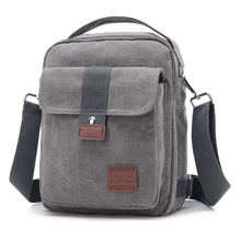 New Men Crossbody Bag Canvas Small Quality Canvas Grey Shoulder Messenger Bags Handbag Chest Pack Bags for Boy Teenagers Flap(China)