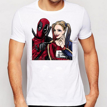 Summer Fashion Deadpool with Miss Quinn Printed T-Shirt Mens Hipster Short Sleeve Cool Tee Shirt Plus Size S-XXXL