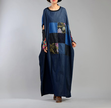 2017 female new arrival autumn plus size personality patchwork embroidery loose medium-long denim dress(China)