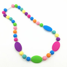 BPA Silicone Teething rainbow Necklaces with flat oval beads Food Silicone Teether Necklace Pendants Nursing necklace(China)