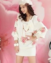 Best-selling 2013 Spring New Arrival Fine Quality Fashion Loose Rose Printed Bat Sleeve Knitting Dress Beige Free Shipping(China)