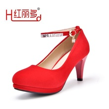 Women red 42 43 small big size round high heels wedding shoes ladies black suede flock Rhinestone pump bridesmaids bridal shoes(China)