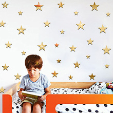 20Pcs/set Acrylic Removable Mirror Wall Stickers Kids Room Decorative Wall Stickers Ins Hot DIY Cartoon Stars Stickers 9Z(China)