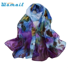 Womail Women's Long printing Soft Wrap Lady Shawl Silk Chiffon Scarf Scarves Blue #20 2016 Gift 1PC