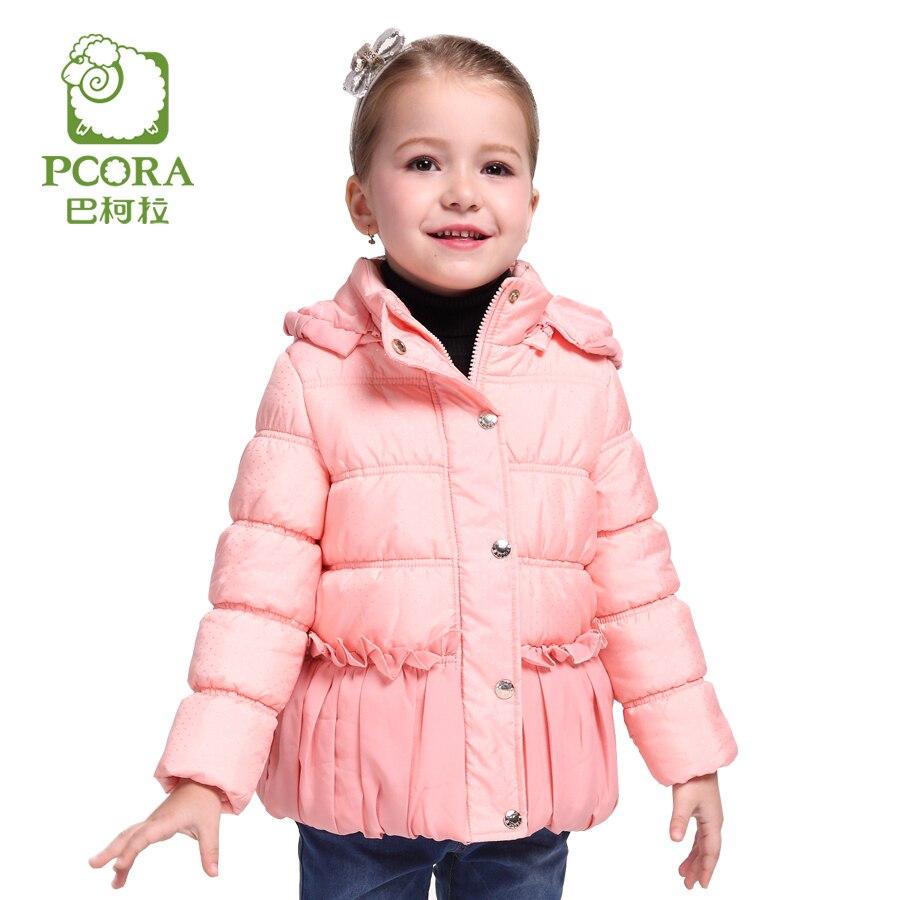 PCORA Winter Jacket for Girls Coats Pink Children Clothing Girl Outwear 2017 US Size 4T to 14T Kids Parka Winter Hooded JacketsÎäåæäà è àêñåññóàðû<br><br>