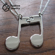 Trend Best Friends Music Note Friendship Pendant Necklace Gift for Her 20Set/lot #LN1070