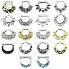 Indian Nose Piercing Septum Clicker Real Clip Rings Piercing Jewelry Septum Tribal Hoop Nose Ring Body Piercing Septo indiano(China)