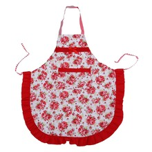 Women Apron with Ruffle Pocket Floral Roses for Cooking Kitchen Chef Waitress