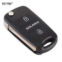 KEYYOU 3 Button Replacement Car Flip Folding Key Shell Blank Remote Fob Shell For Hyundai Solaris With HYUNDAI LOGO