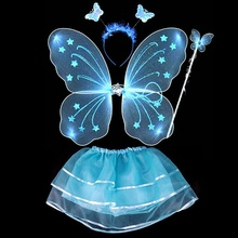 4Pcs Kids girls Fairy Princess Costume Sets colorful stage wear Butterfly Wings Wand Headband Tutu Skirts(China)