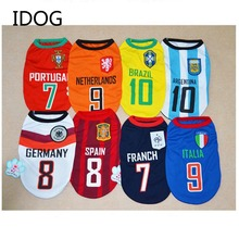Football National Team Pet Dog Clothes Soccer Jersey Breathable Vest for Cachorro Coats Mascotas Travel Pet Dog Outfit Clothes(China)
