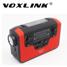 VOXLINK Solar FM Portable Radio Crank Dynamo Emergency FM MW SW Bluetooth Speaker Flashlight Radio Receiver with Reading Lamp