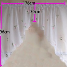 Embroidery flower pink pepper window curtain cafe short kitchen curtains blinds valances style 2 pieces a lot(China)