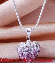 free shipping multicolor rhinestone heart Silver Plated 16inch snake chain gradual change Crystal Shamballa Necklace For men.