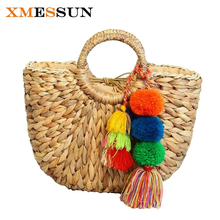 2017 New High Quality Beach Bag Straw Totes Bag Bucket Summer Bags with Tassels Pom Pom Pompon Women Natural Basket Handbag C80(China)