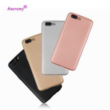 Ascromy cellphone Case for One Plus 5 Slim Carbon Fiber Rubber Soft TPU Hybrid Shockproof Cases Cover For One Plus 5(China)