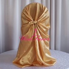 WedFavor 100pcs Gold Self Tie Universal Satin Chair Covers Pillowcase Wedding Chair Covers For Home Banquet Party Decoration(China)