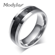 fashion men ring carbon fiber jewelry stainless steel rings for man classic christmas gifts(China)