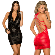 Women Faux Leather Bandage Dress Halter Sleeveless Sexy Clubwear Nightclubs Ladies Pleated Party Dress Erotic Costume Black Red(China)