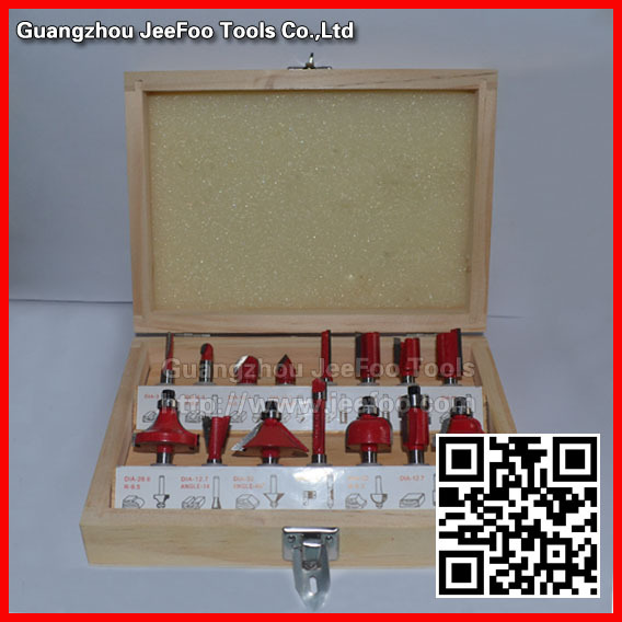 Shank Dia 6.35(1/4) &amp;12.7(1/2) Professional Shank Tungsten Carbide Router Bit Set with Wood Case box<br>